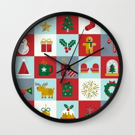 Fun Christmas Pattern Wall Clock
