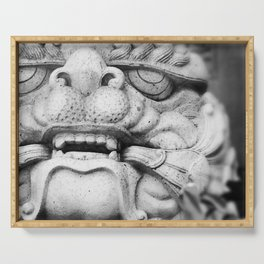 Foo Dog - black and white Serving Tray