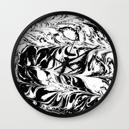 Marble black and white 2 Suminagashi watercolor pattern art pisces water wave ocean minimal design Wall Clock