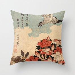 Hokusai Cuckoo and azaleas -hokusai,manga,japan,Katsushika,cuckoo,azaleas,Rhododendron Throw Pillow