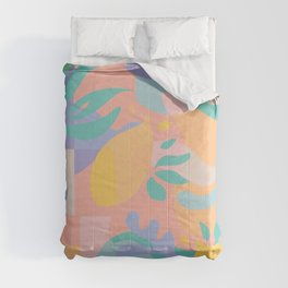 Lemons in Amalfi / Abstract shapes, Pink, Turquoise, Yellow, Lavender Comforters