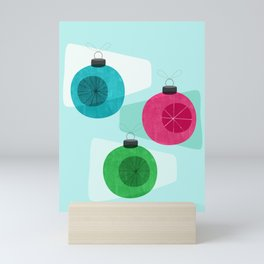 Retro Holiday Baubles Blue Mini Art Print