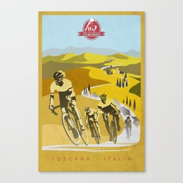 Strade Bianche retro cycling classic art Canvas Print