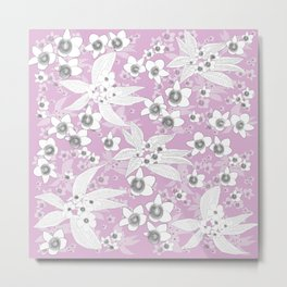 Pink pattern with white flowers Metal Print
