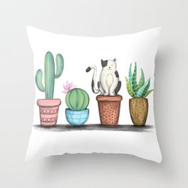 Cat and Cacti Throw Pillow