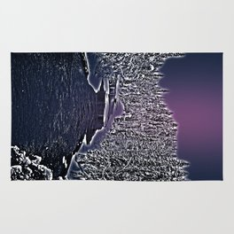 Winter river in Lapland Finland  Rug