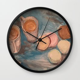 Cafe Au lait and French Macrons Wall Clock