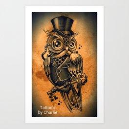 Owl tattoo cute gentleman  Art Print