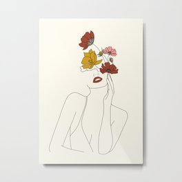 Colorful Thoughts Minimal Line Art Woman with Flowers Metal Print