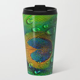 Drops on peacock  (This Artwork is a collaboration with the talented artist Agostino Lo coco) Travel Mug
