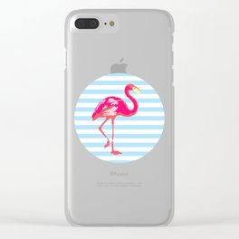 Flamingo, Summer Poster, blue stripes, rounded version Clear iPhone Case