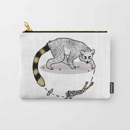 Ring Tailed Lemur, Frog & Fly, Funny Animal Illustration, Black and White Cute Lemur Graphic Design Carry-All Pouch