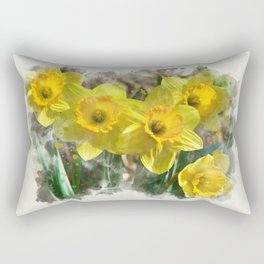 Watercolor Daffodils Rectangular Pillow