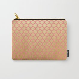 Chic modern coral faux gold quatrefoil pattern Carry-All Pouch