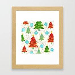 Christmas trees and snowflakes Framed Art Print