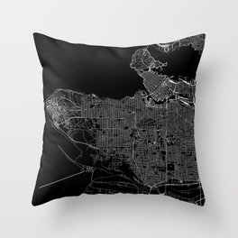Vancouver Black Map Throw Pillow
