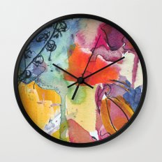 Abstract floral watercolour Wall Clock