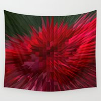 moriarty Wall Tapestries featuring Exploding Red Rose by Michael P. Moriarty