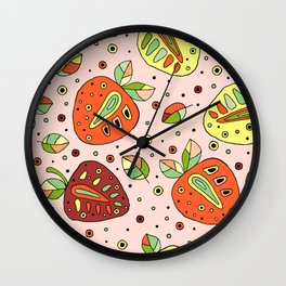 Seamless hand drawn childish pattern with fruits. Cute childlike strawberries with leaves Wall Clock