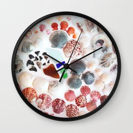 Shark Teeth and Sea Glass Wall Clock