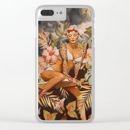 Swimming in the jungle Clear iPhone Case