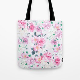 Vintage blush pink rose white floral elegant damask Tote Bag