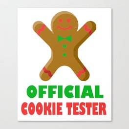 Official Cookie Tester Funny Gingerbread Christmas Design Canvas Print