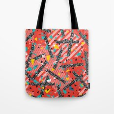 Modern Memphis Milan Inspired Primary Color Geometric Stripe Design Red Confetti 80s Party Tote Bag