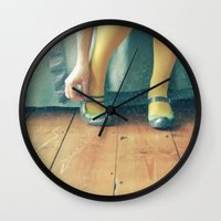 good morning Wall Clocks featuring Good Morning by Cassia Beck