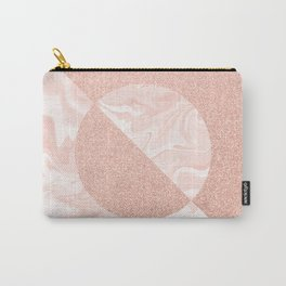 Rose Glitter and Blush Marble Carry-All Pouch