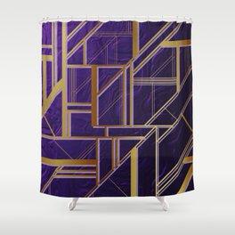 Modern,gold,art deco, purple,geomtric Shower Curtain