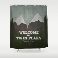 twin peaks Shower Curtains featuring Welcome to Twin Peaks by avoid peril