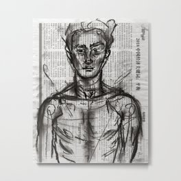 Wanderlust - Charcoal on Newspaper Figure Drawing Metal Print