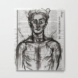 Wanderlust - Charcoal on Newspaper Figure Drawing Metal Print
