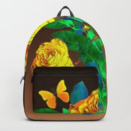 BROWN SHADES YELLOW SPRING ROSES & BUTTERFLIES Backpack