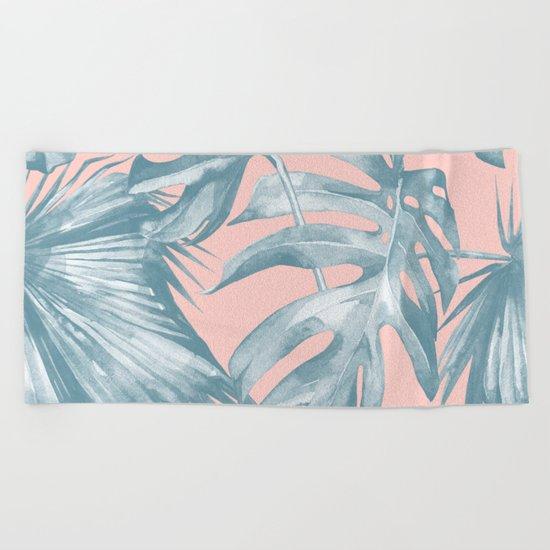 Tropical Leaves Ocean Blue on Coral Pink Beach Towel