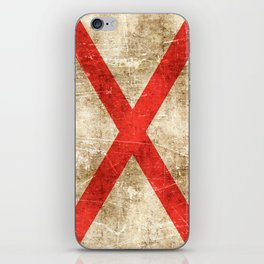 Vintage Aged and Scratched Alabama Flag iPhone Skin