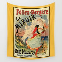 theatre Wall Tapestries featuring French belle epoque mime theatre advertising by aapshop