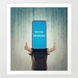 Social networks addiction Art Print