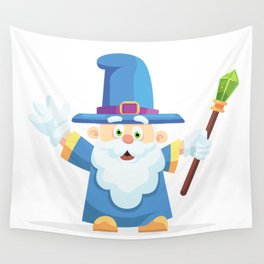 Wizard Cartoon Character Wall Tapestry