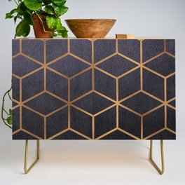 Dark Purple and Gold - Geometric Textured Gradient Cube Design Credenza