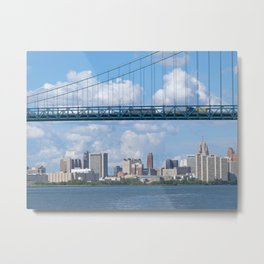 Bridging the Detroit River Metal Print
