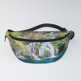 Waterfall And Lake in Autumn Forest Fanny Pack