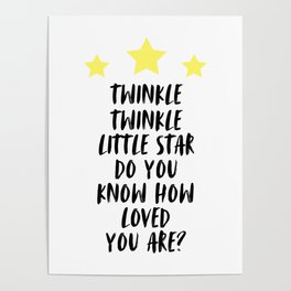 Twinkle Twinkle Little Star, Kids Room Decor, Typography, Baby Nursery, Room Decor Poster