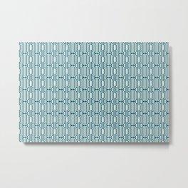 Turquoise Vintage Art Deco Sherwin Williams Trending Colors of 2019 Oceanside Dark Aqua Blue SW 6496 on Off White Metal Print