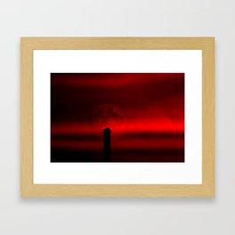 sunset, moon and flight limiting lights Framed Art Print