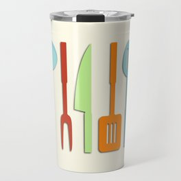 Kitchen Utensil Colored Silhouettes on Cream II Travel Mug