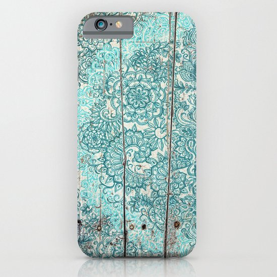 Teal & Aqua Botanical Doodle on Weathered Wood iPhone & iPod Case