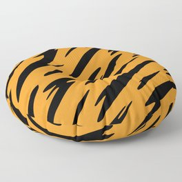 Bold and Beautiful Black and Orange Abstract Tiger Striped Pattern Floor Pillow