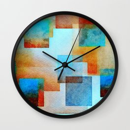 Structured Abstract in Turquoise and Terra Cotta Wall Clock